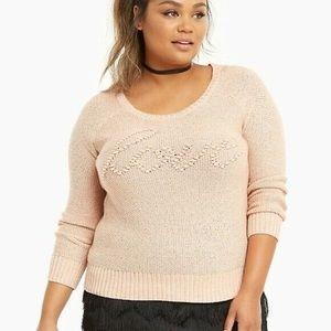 Torrid Blush Pink Cursive Script Love Sweater